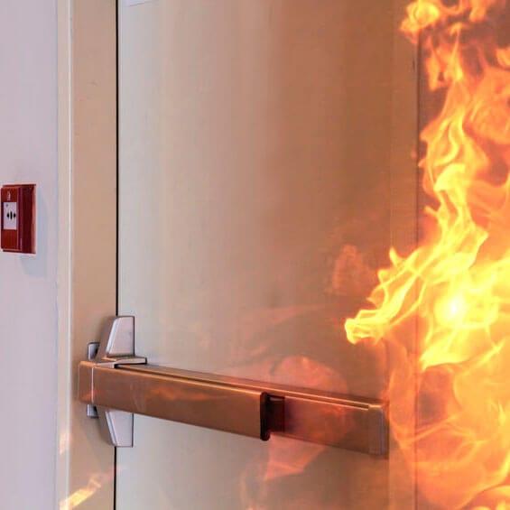 FIRE DOOR KEEP CLEAR Metal Door Sign 75mm Dia Satin Stainless Steel Safety